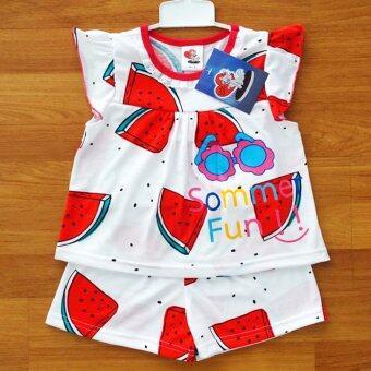 Lulu Caty ไซส์ 3 (2-3 ปี) เสื้อผ้า เด็กผู้หญิง เซ็ต 2 ชิ้น เสื้อแขนปีก ลายแตงโมสดใส กางเกงขาสั้นเอวยางยืด