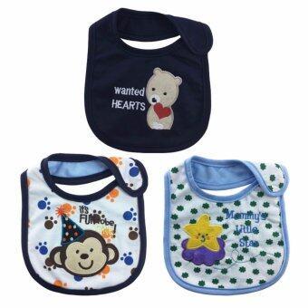 LukLek ผ้ากันเปื้อนเด็ก ผ้ากันน้ำลาย อายุ 0 - 2 ปี กันน้ำได้ ลายการ์ตูนน่ารัก เซต 3 ชิ้น