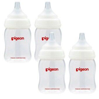 PIGEON ขวดนม PPWN รุ่น PG0086301 160ml พร้อม จุกนม รุ่นพลัส Size SS 4 ขวด (สีขาว)