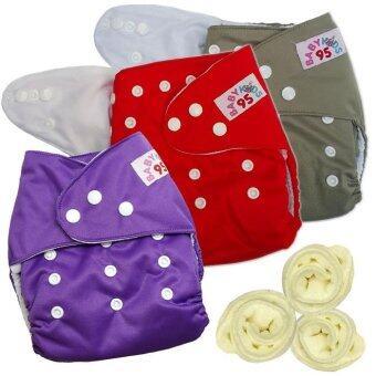 กางเกงผ้าอ้อมกันน้ำ+แผ่นซับไมโครฯ Size:3-16กก. เซ็ท3ตัว (Grey/Red/Purple)(Multicolor Others)