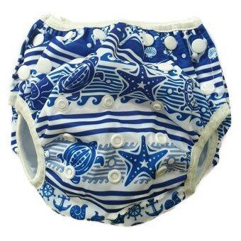 BABYKIDS95 กางเกงผ้าอ้อมว่ายน้ำ ปรับขนาดได้ รุ่น Digital Print ไซส์เด็กแรกเกิด-7 กก. ลายทะเล(สีขาว)