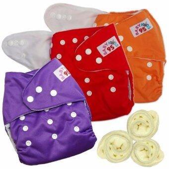 กางเกงผ้าอ้อมกันน้ำ+แผ่นซับไมโครฯ Size:3-16กก. เซ็ท3ตัว (Orange/Red/Purple)