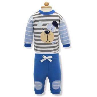 Babybrown ชุดเด็ก เสื้อแขนยาว , กางเกงขายาว สีฟ้า สำหรับเด็กแรกเกิด - 3 เดือน