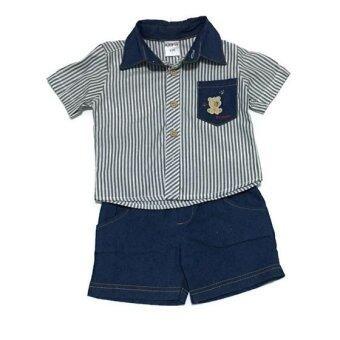 ฺBaby เซ็ทเสื้อผ้าเด็กชาย 2ชิ้น ( เสื้อเชิ๊ต + กางเกง ) เชิ๊ตหมีลายสีกรม