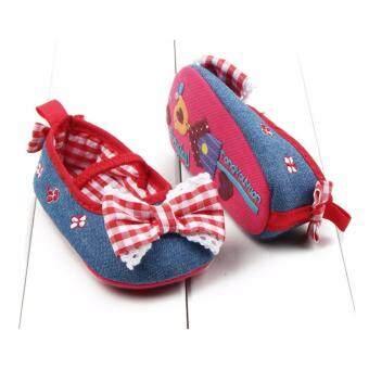 รองเท้าเด็กผู้หญิง รองเท้าหัดเดิน สียีนส์ผูกโบว์ ใส่สบายเท้า ขนาดเด็ก 6-12 เดือน