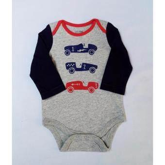 BabyGap บอดี้สูท เด็กชาย หญิง สีเทาแขนกรมท่า สกรีน รถแข่งด้านหน้า
