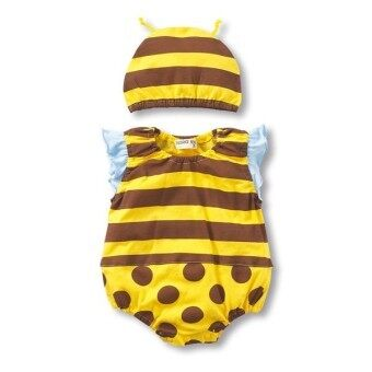 New Fashion Sleeveless Cartoon Pattern Baby Jumpers With Hat-Yellow Bee