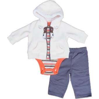 Baby Color ชุดเสื้อแจ๊คเก็ตกันหนาวมีฮู้ด ผ้าหนาสีครีม และ กางเกงขายาว สีเทา พร้อมบอดี้สูท/เสื้อแขนยาวลายริ้วเข้าชุด