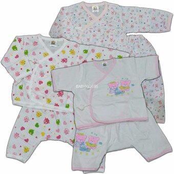 BABYKIDS95 เสื้อผูกหน้า+กางเกงเป้าต่อ Size 6-12 เดือน คละลาย 3 ชุด (Pink)