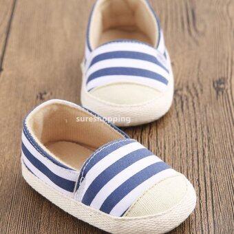 รองเท้าหัดเดิน รองเท้าเด็กอ่อน รองเท้าเด็กพื้นผ้า baby shoe Prewalker ของใช้เด็กอ่อน รองเท้าทารก รองเท้าเด็กเล็ก สีน้ำเงิน