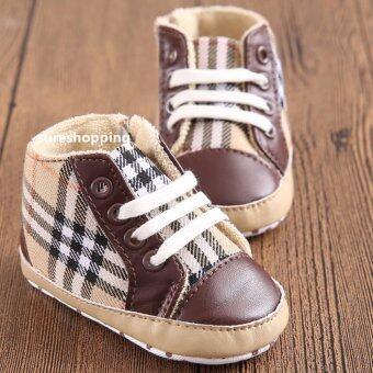 รองเท้าหัดเดิน รองเท้าเด็กอ่อน รองเท้าเด็กพื้นผ้า baby shoe Prewalker ของใช้เด็กอ่อน รองเท้าทารก รองเท้าเด็กเล็ก สีน้ำตาล