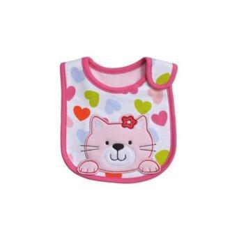 ผ้ากันเปื้อน ผ้าซับน้ำลายเด็ก สีขาวขอบชมพู cat