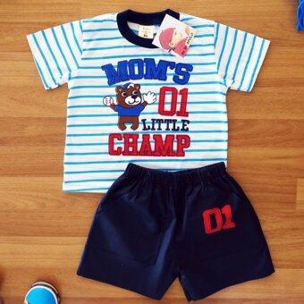 Baby Elegance เสื้อผ้า เด็กผู้ชาย เซ็ต 2 ชิ้น เสื้อแขนสั้น พิมพ์ลายลูกสุนัขเล่นเบสบอล กางเกงขาสั้นเอวยางยืดผ้าคอตต้อนทวิว ไซส์ 3