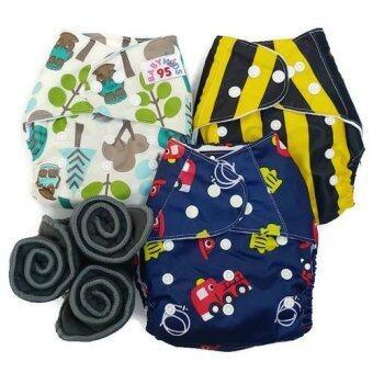 BABYKIDS95 กางเกงผ้าอ้อมกันน้ำ+แผ่นซับชาโคล Size:3-16กก. เซ็ท3ตัว (Owl,Bee,Blue Fire truck)