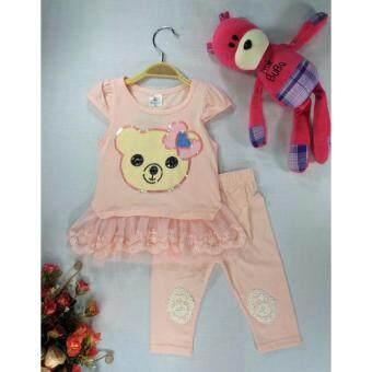 ple shop เสื้อปักเลื่อมลายหมีแต่งชายผ้าลูกไม้+กางเกงเลคกิ้ง