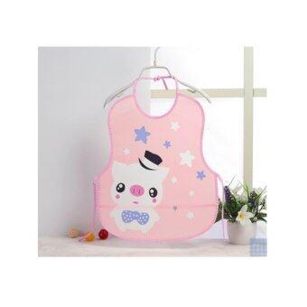 ผ้ากันเปื้อนเด็กแบบพลาสติกกันน้ำลายการ์ตูน สีชมพูอ่อน pig