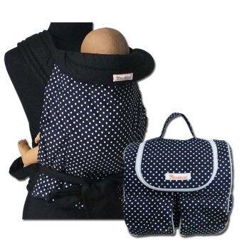 PalmandPond ผ้าอุ้มเด็ก รุ่น 1 ลายที่ 4+กระเป๋าคุณแม่ลูกอ่อนเก็บอุณหภูมิ 100%Cotton ลายกรมจุดขาวเล็ก