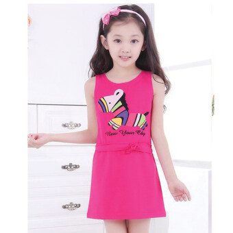 Bamboo Dress - ชุดเดรสกระโปรงสีชมพูเข้ม ลายม้าลาย