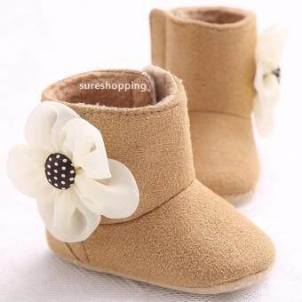 รองเท้าหัดเดิน รองเท้าเด็กอ่อน รองเท้าเด็กพื้นผ้า baby shoe Prewalker ของใช้เด็กอ่อน รองเท้าทารก รองเท้าเด็กเล็ก รองเท้าบูทเด็กอ่อน สีน้ำตาล