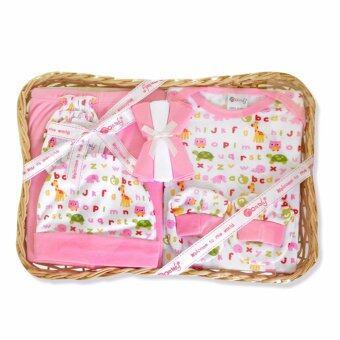 Babybrown Giftset ตะกร้า ชุดของขวัญสำหรับเด็กแรกเกิด ชุด 8 ชิ้น สีชมพู