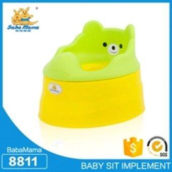 Babamama กระโถนโถสุขภัณฑสำหรับเด็กพลาสติก รูปหมี รุ่น 8811 สีเขียวเหลือง
