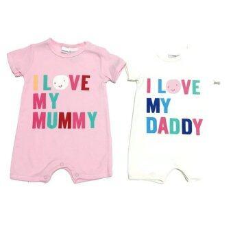 LITTLE BABY M เสื้อผ้าเด็กเล็ก ชุดหมีแพ็คคู่ ลายLoveMom Dad