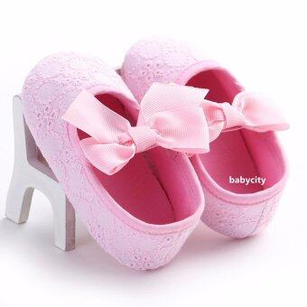 รองเท้าหัดเดิน รองเท้าเด็กผู้หญิง รองเท้าเด็กอ่อน รองเท้าเด็กพื้นผ้า baby shoe Prewalker ของใช้เด็กอ่อน สีชมพู