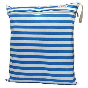 BABYKIDS95 ถุงผ้ากันน้ำ 1 ช่อง Size: 34x40 cm. สำหรับใส่ผ้าอ้อม หรือผ้าเปียก (สีฟ้า/ขาว)