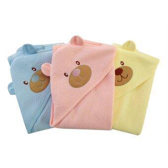 First-wear ผ้าห่อตัวเด็ก ผ้า Sandwich ผืนใหญ่ ลายหัวหมีน่ารัก Set 3 ชิ้น (สีฟ้า, สีชมพู, สีเหลือง)