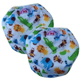 BABYKIDS95 กางเกงผ้าอ้อมว่ายน้ำ ปรับขนาดได้ ไซส์เด็กแรกเกิด-7 กก. เซ็ท 2ตัว สีขาวลายสวนสัตว์