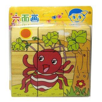 ของเล่นไม้เสริมพัฒนาการสำหรับเด็ก จิ๊กซอว์ไม้ 6 มิติ ลายแมลง Wood Toy Lego for Child