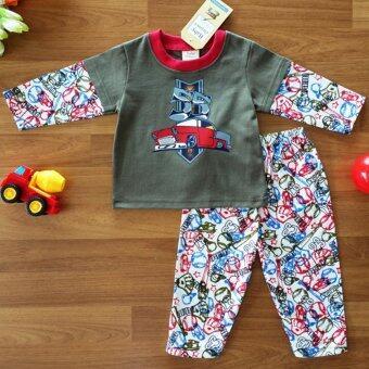 Baby Elegance ไซส์ 1 (3-6 เดือน) ชุดนอน เด็กผู้ชาย เซ็ต 2 ชิ้น เสื้อแขนยาวลายรถยนต์ กางเกงขายาว