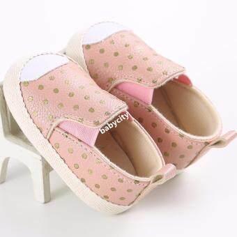 รองเท้าหัดเดิน รองเท้าเด็กอ่อน รองเท้าเด็กพื้นผ้า baby shoe Prewalker ของใช้เด็กอ่อน สีชมพู