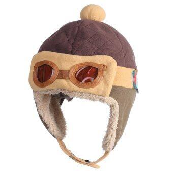 WiseBuy เด็กหนุ่มเด็กสาวหนาว ๆ หมวกปิดหูหมวกนักบินนักบินสวมหมวกบีนนี่อบอุ่น (image 1)
