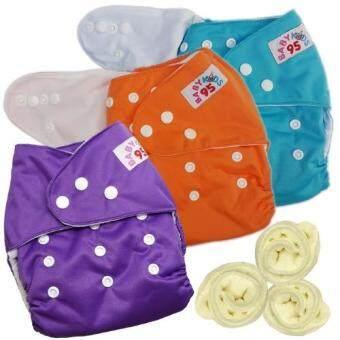กางเกงผ้าอ้อมกันน้ำ+แผ่นซับไมโครฯ Size:3-16กก. เซ็ท3ตัว (Blue/Orange/Purple)