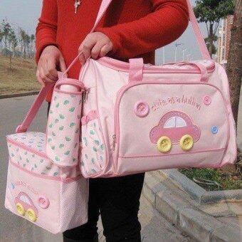 TM กระเป๋าสัมภาระคุณแม่ ยี่ห้อ MotherCare เซต 3ใบลายรถ (สีชมพูสดใส)