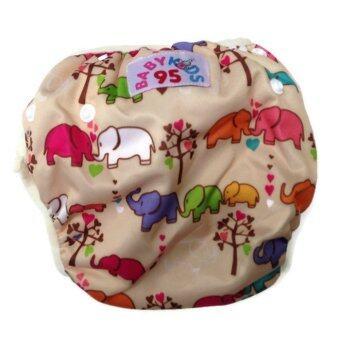 BABYKIDS95 กางเกงผ้าอ้อมว่ายน้ำ ปรับขนาดได้ ไซส์เด็กแรกเกิด-7 กก. สีครีมลายช้าง