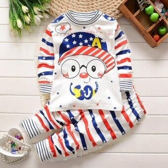 Harga Baby lily Bear Fashion Baby Boys Girls Cartoon Music Casual Kids 2Pcs Long Sleeve Top + Pant Clothing Pajamas Set - intl