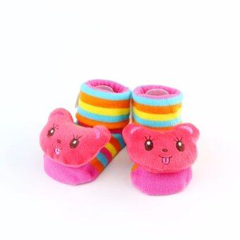 ถุงเท้าเด็ก หัวการ์ตูน มีปุ่มยางกันลื่น (สีชมพู)
