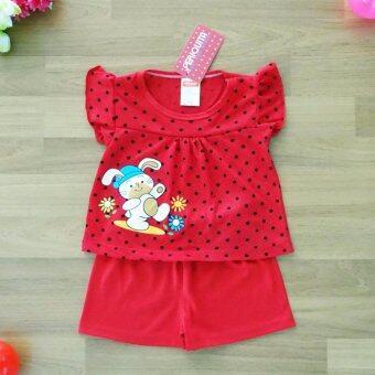 Periquita ไซส์ 6-9 เดือน เซ็ต 2 ชิ้น ชุดเด็กหญิง เสื้อแขนสั้น ลายจุด กระต่าย สีแดง กางเกงขาสั้นเอวยางยืดผ้า Cotton 100% นุ่มใส่สบาย