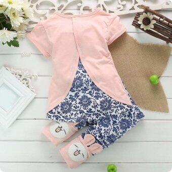 Harga 2Pcs Suit Baby Cute Rabbit Top+Short Pants Set Pink (Intl)