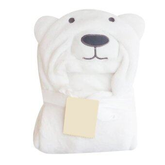 Getagift ผ้าห่ม ผ้าห่อตัวทารกพร้อมหมวกรูปหมี White Bear (สีขาว)