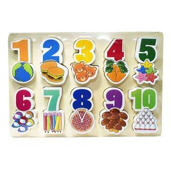 ของเล่นไม้เสริมพัฒนาการสำหรับเด็ก จิ๊กซอว์ชุดเลขคณิตนับเป็น Wood Toy Number and Count