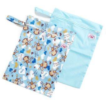 BABYKIDS95 ถุงผ้ากันน้ำ 1 ช่อง สำหรับใส่ผ้าอ้อม หรือผ้าเปียก เซ็ท 2 ชิ้น (สีฟ้าอ่อน/ลายลิงสีฟ้า)