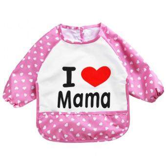 Baby Touch ผ้ากันเปื้อนเด็ก กันน้ำ แขนยาว รักแม่ (ชมพู)