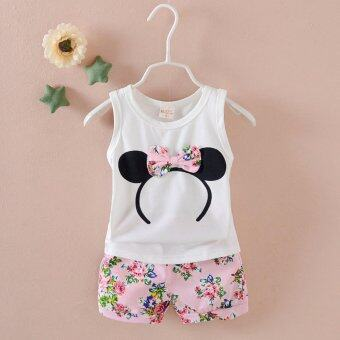 Harga Bear Fashion Baby Clothing Kids Summer Girls Cartoon Flower Clothes 2pcs Set - intl