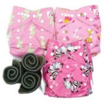 BABYKIDS95 กางเกงผ้าอ้อมกันน้ำ+แผ่นซับชาโคล Size:3-16กก. เซ็ท3ตัว (Pink Lightening, Pink Animal,Pink Zebra)