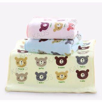 KADS ผ้าขนหนูนาโนไฟเบอร์สำหรับเด็กอ่อน รุ่น พรีเมี่ยม ลายหมี ขนาด 13x29 นิ้ว 3ผืน3สี/1เซ็ต