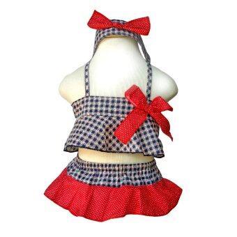 baby_fancy_shop ชุดว่ายน้ำเด็กหญิง ทูพีช+ผ้าคาดผม ลายเรือใบ - น้ำเงิน-แดง