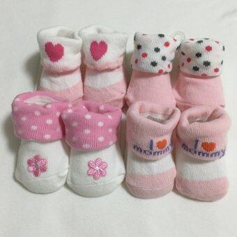 Baby ถุงเท้าเด็กแรกเกิด - 6เดือน setสีชมพู 4 คู่
